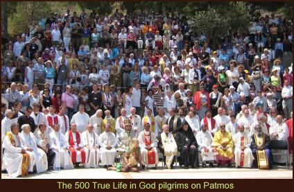 Most of the 500 True Life in God pilgrims on Patmos Island